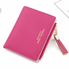 Tassel Women Wallets Small Leather Wallets Female Coins Wallet Zipper Purses Female Clutch Bag red one size