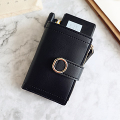 Women Wallets Small Fashion Brand Leather Purse Ladies Card Bag For Women Purse Money Clip Wallet black one size