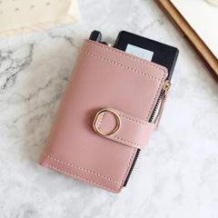 Women Wallets Small Fashion Brand Leather Purse Ladies Card Bag For Women Purse Money Clip Wallet dark pink one size
