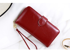 Women Quality Clutch Split Leather Female Long Style Women Zipper Purse Strap Coin Purse red one size