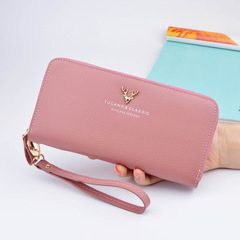 Women Leather Phone Wallets Women Purses Long Zipper Coin Wallet Money Bag Credit Card Holder Clutch pink one size