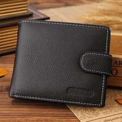 Men Leather Wallet Men Clip Cowhide Coin Small Clutches Men's Purse Coin Pouch Short Wallet black one size