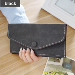 Matte Leather Women's Wallet Zipper Bag Vintage Female Wallet Purse Card Holder Phone Pocket Wallet dark gray one size