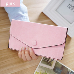 Matte Leather Women's Wallet Zipper Bag Vintage Female Wallet Purse Card Holder Phone Pocket Wallet pink one size