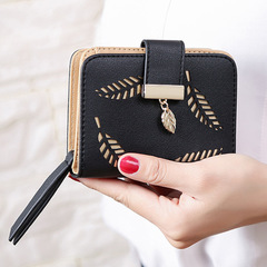Women's Purse Zipper Leather  Wallet Luxury Brand Small Female Wallet Hollow Leaves for Credit Cards black one size