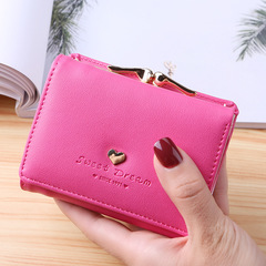 Lady Leather Clutch Bifold Short Wallet Card Holder Purse Handbag Black rose red One Size
