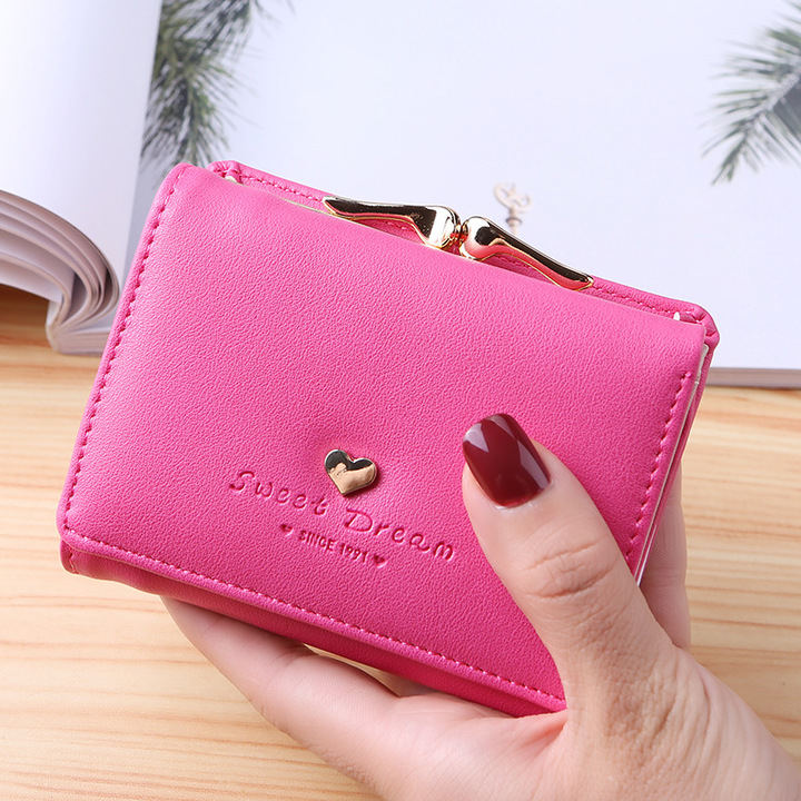 Lady Leather Clutch Bifold Short Wallet Card Holder Purse Handbag Black rose red One Size