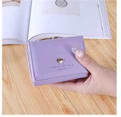 Lady Leather Clutch Bifold Short Wallet Card Holder Purse Handbag Black purple One Size