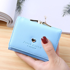 Lady Leather Clutch Bifold Short Wallet Card Holder Purse Handbag Black light blue One Size