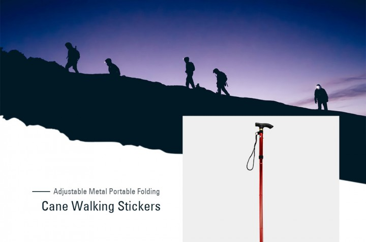 Aluminum Metal Folding Walking Stick with Adjustable Height and Non-slip Rubber Base