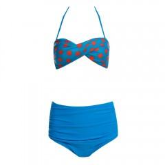 Lady Sexy Bikini Dot Pattern High Waist Two Pieces BLUE L