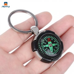 AOTU AT7624 Tyre Shaped Compass Keychain Decoratio SILVER WHITE