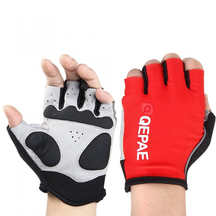 QEPAE Half Finger Cycling Gel Gloves with Finger R YELLOW L