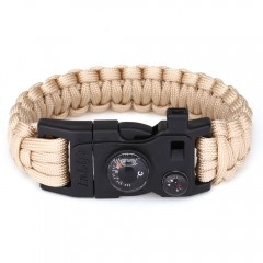 Outdoor Multifunction Fashionable Survival Bracele LIGHT BROWN