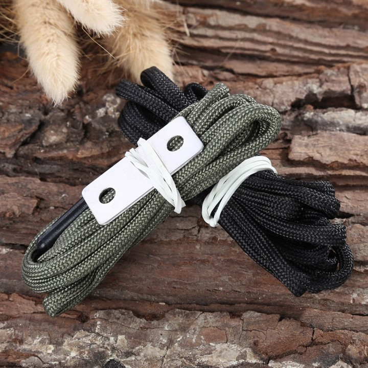 Paired Nylon 145CM Flint Laces with Striker Plate