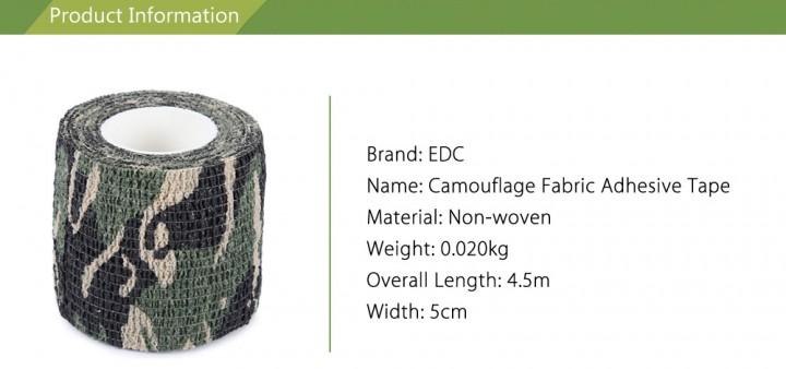 EDCGEAR 4.5M Outdoor Camouflage Non-woven Fabric Adhesive Tape