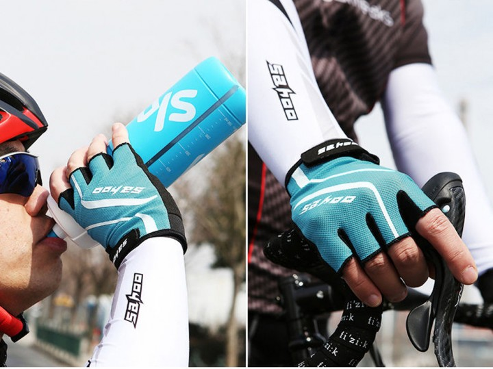 2PCS SAHOO Anti-slip Hydrofuge Half Finger Bike Cycling Gloves Summer Racing Mountain Bicycle