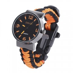 EMAK Outdoor Survival Paracord Watch with Fire Sta BLACK AND ORANGE
