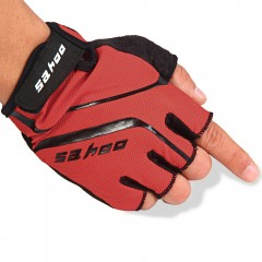 2PCS SAHOO Anti-slip Hydrofuge Half Finger Bike Cy RED M