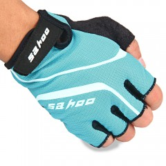 2PCS SAHOO Anti-slip Hydrofuge Half Finger Bike Cy BLUE M