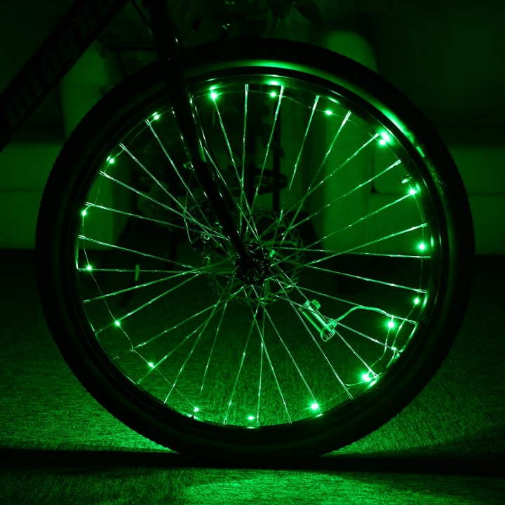 Bicycle Cycling 20 LEDs Colorful Cool Safety Spoke GREEN