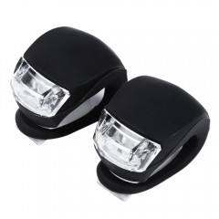 2pcs LED Bicycle Light Head Front Rear Wheel Safet BLACK
