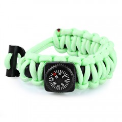 Emergency Paracord Outdoor Survival Utility Bracel LUMINOUS GREEN