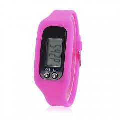 Multifunctional Unisex LCD Strap-hand Pedometer St PINK