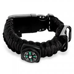 Multifunctional Outdoor Survival Bracelet Compass  BLACK
