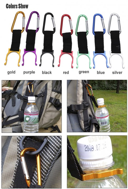Aotu 5pcs Outdoor Water Bottle Holder Carabiner Hook Clip Buckle for Camping Hiking