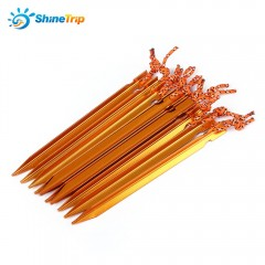 10pcs SHINETRIP Triangular Tent Peg with Rope Nail GOLDEN