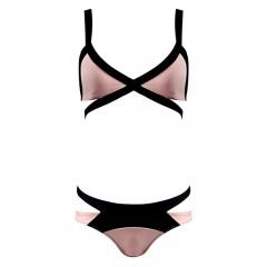 Women Sexy Polyester High Elastic Bikini Two-piece PINK S