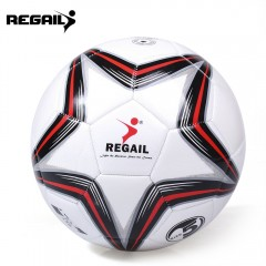 REGAIL Size 5 PU Star Competition Training Soccer  RED WITH BLACK