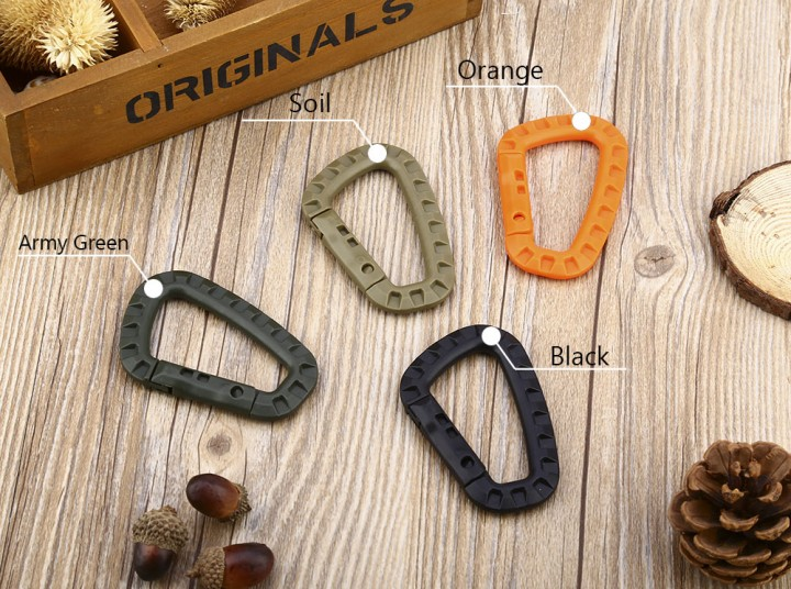 EDCGEAR Outdoor Camping Travel Hiking Plastic Carabiner D-ring Snap Lock Key Chain Clip Hook