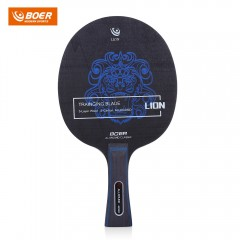 BOER Outdoor Lion Pattern Table Tennis Ping Pong R GRAY LONG HANDLE / SHAKE-HAND GRIP