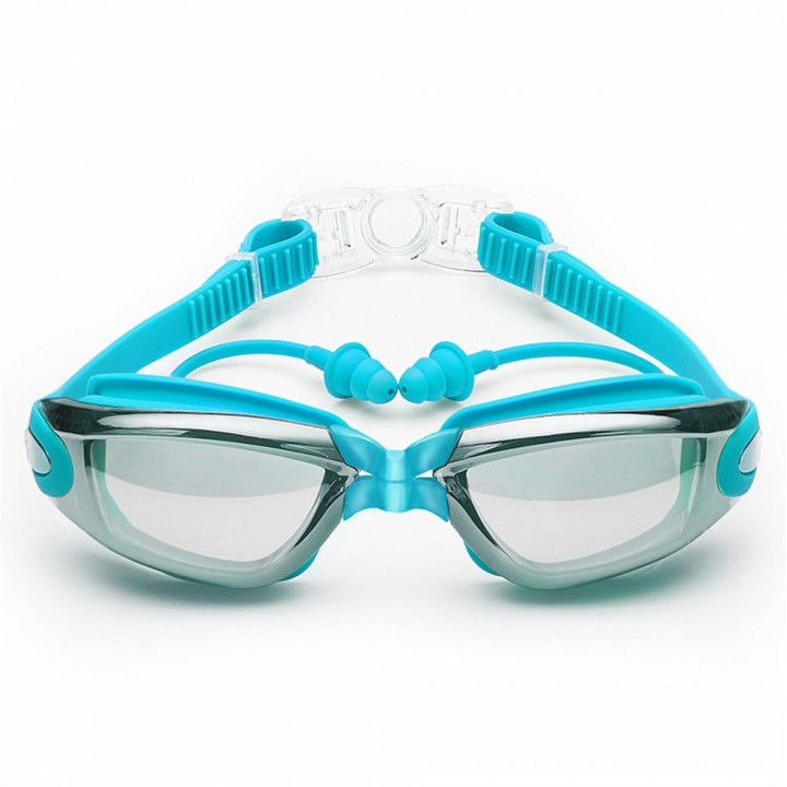Swimming Goggles with Protective Case Nose Clip and Ear Plugs Mirrored  Clear Anti Fog Waterproof