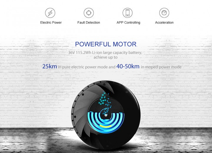 YUNZHILUN 36V - X iMortor 26 inch Bluetooth 4.0 Smart Electric Front Wheel for Bicycle Motorbike
