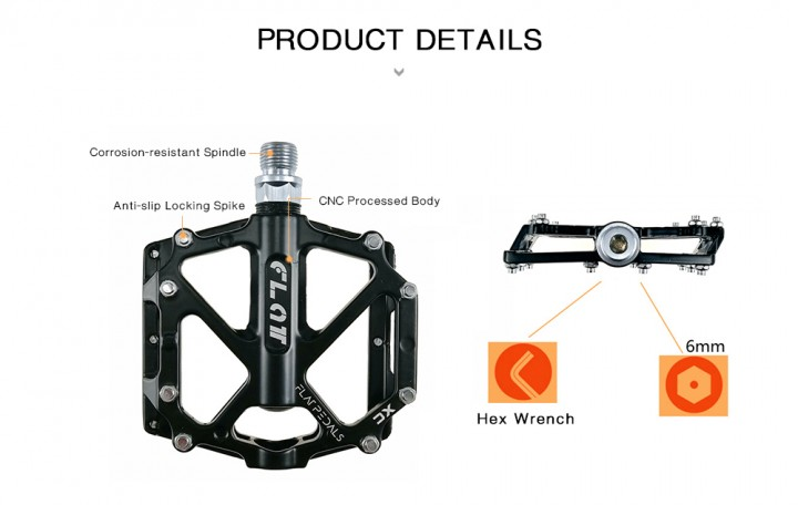 Shanmashi FLAT Aluminum Alloy Bearing Multi-pin Anti-slip Bicycle Pedals