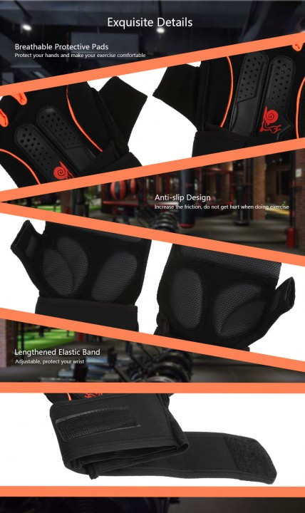Pair of Gloves Half Finger for Gym Exercise Sports Cycling