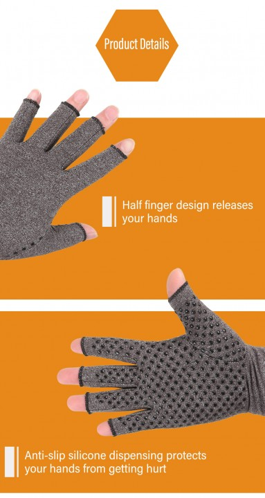Pair of Compression Gloves Anti-slip for Arthritis Therapy Cycling Climbing