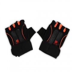 Pair of Gloves Half Finger for Gym Exercise Sports ORANGE XL