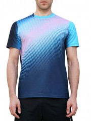 Triangle Print Faster Moisture Absorption Gym Tee BLUE JAY M