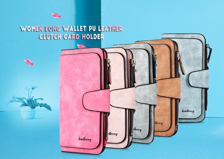 Baellerry Women Long Wallet PU Leather Clutch Card Holder Large Capacity Purse