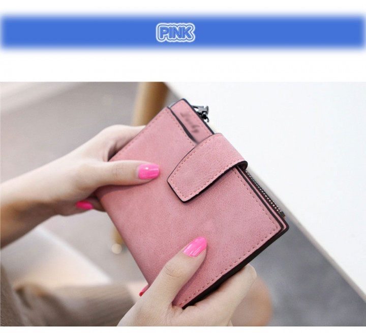 Guapabien Lady Solid Color Letter Snap Fastener Zipper Short Clutch Wallet
