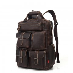 AUGUR Men Backpack Retro Genuine Leather Multi Poc BROWN