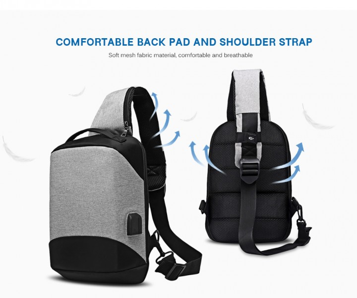 Sling Shoulder Chest Bag for Men with USB Charging Port Headphone Hole  Crossbody Backpack e2019ea789f20