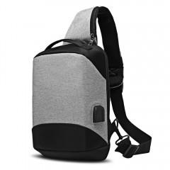 Sling Shoulder Chest Bag for Men with USB Charging LIGHT GRAY