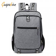 Cathy business Oxford cloth rechargeable schoolbag Large Capacity Men leisure Travel Laptop Backpack GRAY