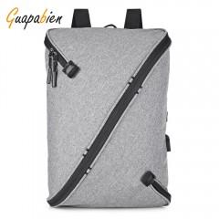 Guapabien Unisex Laptop Backpack USB Port Business GRAY