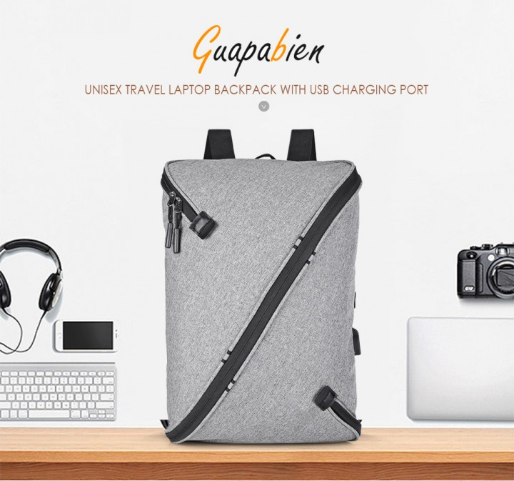 Guapabien Unisex Laptop Backpack USB Port Business Travel College School Bag